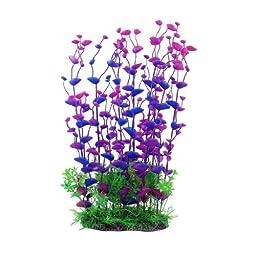 Jardin Aquarium Plastic Manmade Plant for Fish Tank, 14.2-Inch Height, Purple/Green