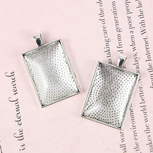 Monrocco 20 Pack 25mm X 35mm Antique Silver Rectangle Pendant Trays with Glass Cabochons Blank Camo Bezel Trays Cabochoon Frame Setting Tray for Jewelry Making