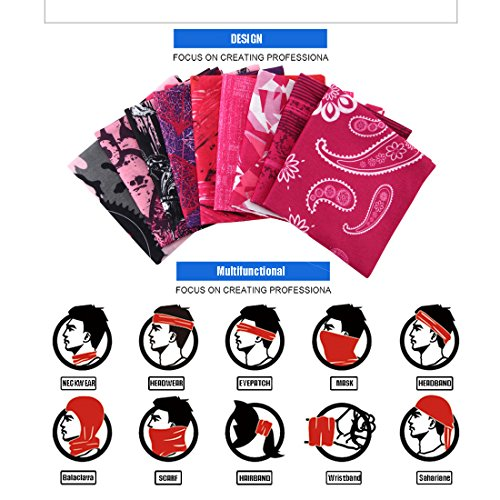 c734af2d6ca0b Toes Home Outdoor Magic Headbands Bandana Scarf Neck Gaiter Hairwraps Face  Mask UV Resistence Seamless Headwear 9PCS (Pink Lady)