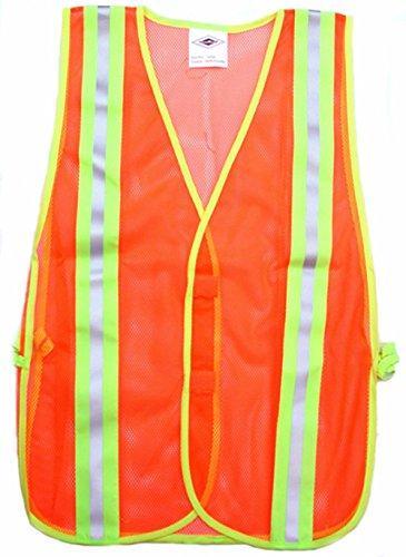2 Stripes Carolina Glove /& Safety 039-40003 Fluorescent Orange Safety Mesh Vest