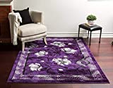 Home Must Haves Super Soft Floral 3-Dimensional Modern Contemporary Polyester Area Rug Carpet Living Room Bedroom Rug Carpet Floor Hand Carved Rug Carpet Size: 5'2″ x 7'3″ For Sale