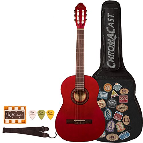 (Rise by Sawtooth 6 String Full Size Beginner's Classical Guitar with World Tour Graphic Gig Bag & Accessories, Satin Red Stain (ST-RISE-CL-R-KIT-1))