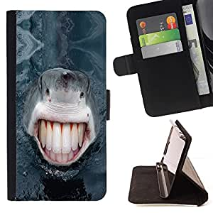 BETTY - FOR Samsung Galaxy Note 3 III - Funny LOL Human Shark Teeth - Style PU Leather Case Wallet Flip Stand Flap Closure Cover