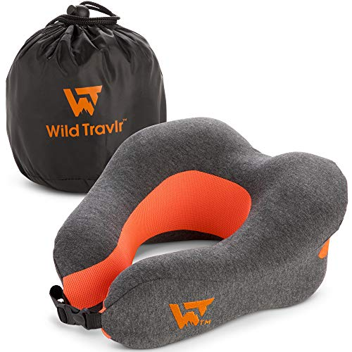 Wild Travlr Travel Head and Neck Pillow with Carrying Case - Ultra Soft, Memory Foam Support Pillows for Sleeping, Traveling, Camping, Airplanes, Cars - Comfortable Cushion for Kids, Adults