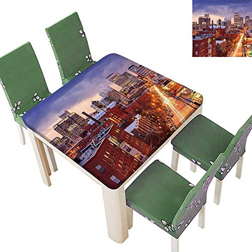(Table in Washable Polyeste Richmond Virginia Highway Office Buildings Downtown at Dusk Urban Lifestyle Wedding Party Restaurant 50 x 50 Inch (Elastic)