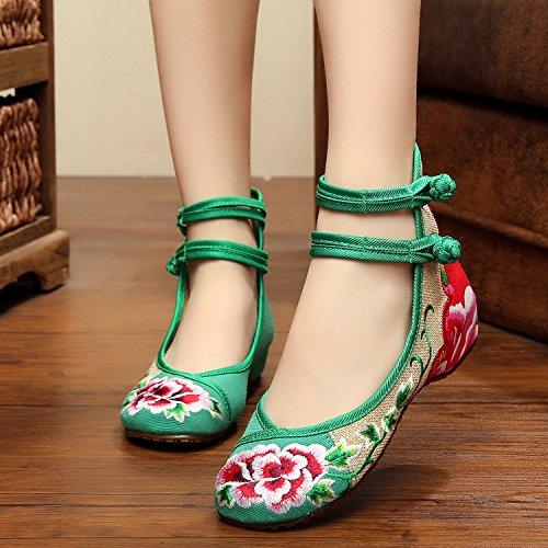 lino bordados étnico de WXT Green doble moda femeninos cómodo cinturón tendón zapatos Zapatos estilo lenguado BnCqqwfxR