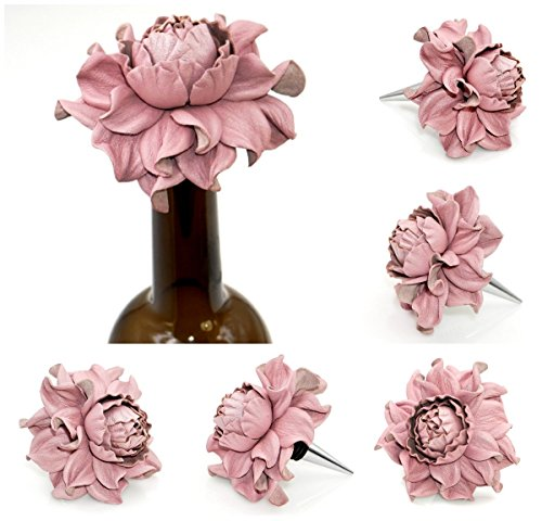 Gift for Wine Lover - Yak Lialia Flower Wine Bottle Stopper with Genuine Leather Rose 3.5