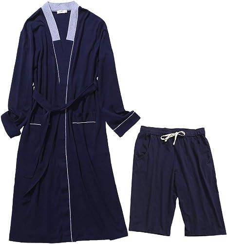 Pijama LINGZHIGAN Camisón Hombre Otoño Pantalones Cortos de Manga ...