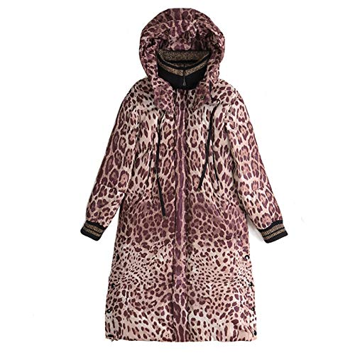 Fashionable Leopard Print Hooded Long Over The Knee Down Jacket Parka Thermal Winter Coat