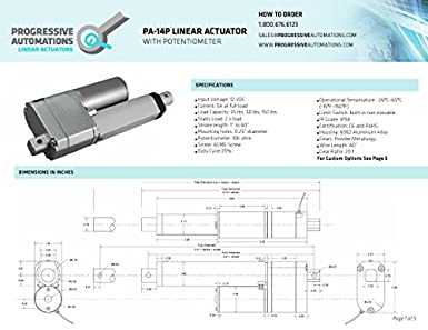 "Linear Actuator with Potentiometer 4/"" stroke 150 lbs Progressive Automations"