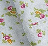 3 Piece Girls Light Blue Carolina Rose Sheet Twin Set, Light Green Color Shabby Chic Pattern Floral Hippie Bohemian Design Kids Bedding, Modern Traditional Teen Flower French Country Themed, Cotton