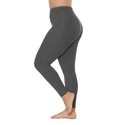 Bycc Bynn Womens Plus Size Stretch Leggings Full-Length Ultra Soft Tights Pants(Deep Grey, L) at Women's Clothing store