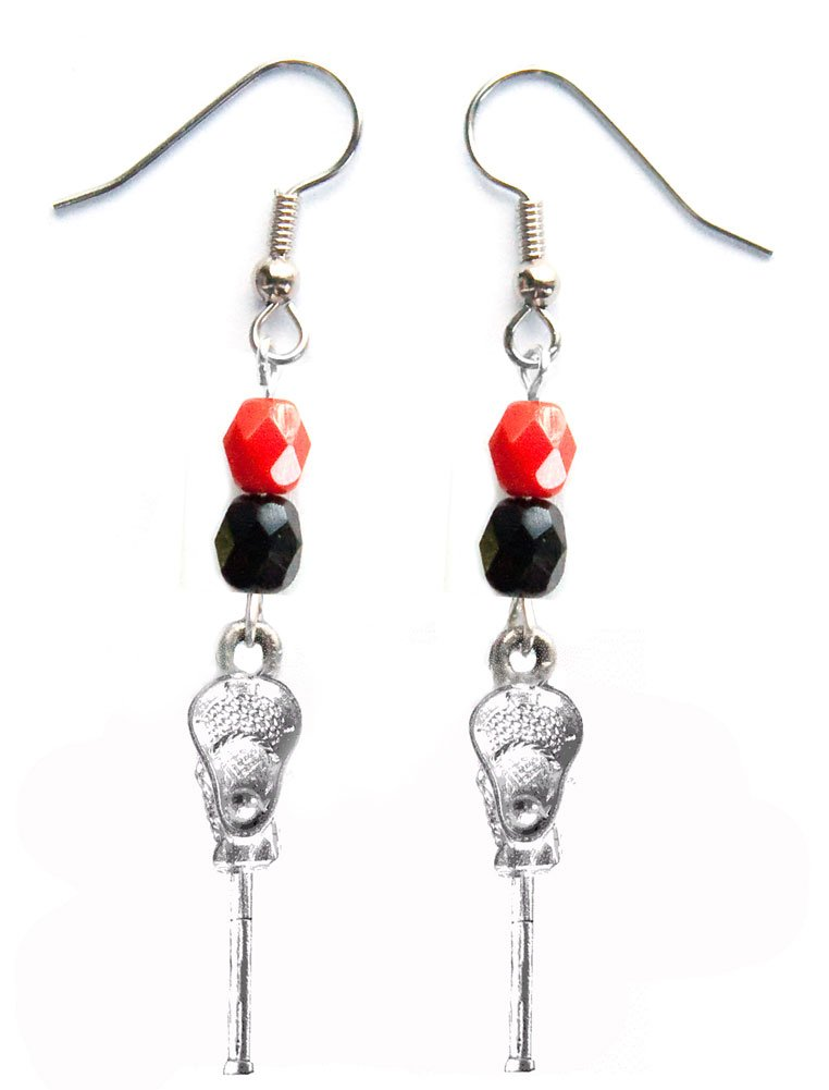 ''Lacrosse Stick & Ball'' Lacrosse Earrings (Team Colors Red & Black)