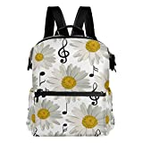 ALAZA Music Note Daisy Casual Backpack Waterproof Travel Daypack Student School Bag