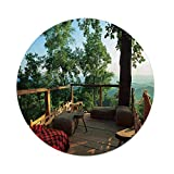Polyester Round Tablecloth,Country Home Decor,View from Wooden Terrace in Forest with Idyllic Non Urban Outdoors,Green Brown Red,Dining Room Kitchen Picnic Table Cloth Cover,for Outdoor Indoor
