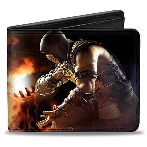 Buckle-Down Men's Wallet Mortal Kombat X Scorpion Fire Ball Action Poses Accessory, -Multi, One Size (Scorpion From Mortal Kombat)