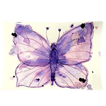 Amazon.com: Rectángulo púrpura acuarela mariposa arte Throw ...