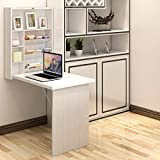 Tangkula Wall Mounted Table, Fold Out Convertible Desk, Multi-Functional Wall Mounted Laptop Desk, Writing Desk Home Office Desk with Large Storage Area (White)
