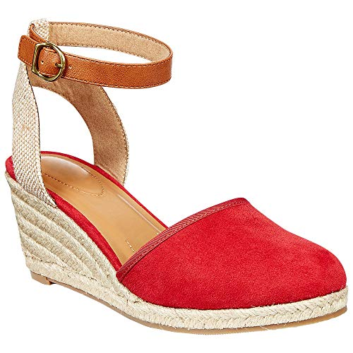 Wedges Espadrilles for Women Scalloped Strap Canvas Closed Toe Slingback Dress Sandals with Buckle