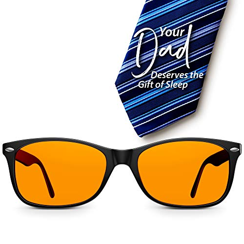 Swannies Perfect Fathers Day Gift - Blue Light Blocking Computer Glasses with Orange Lens for Night Use - UV Protection Anti Eye Strain Tired Eye Relief (Black) Regular