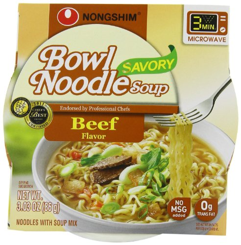 NongShim Bowl Noodle Soup, Beef, 3.03 Ounce (Pack of 12) (Beef Noodle Bowl)