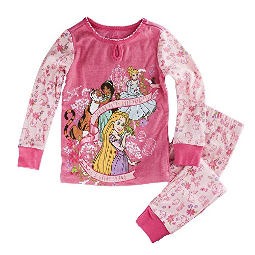 Disney Store Princess Pj (Disney Store Princess Jasmine, Cinderella and Rapunzel PJ PALS Pajamas for Girls, Pink, Size 3)
