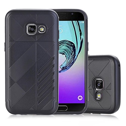 A3 Rubber (Coohole Fashion Hard Soft Rubber Impact Armor Case Back Hybrid Cover For Samsung Galaxy A3 2017 (Black))