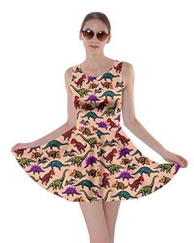 Tyrannosaurus Dress Womens Triceratops Orange Light Jurassic 5XL XS CowCow Dino Rex Dinosaur World Skater FxSwnTg