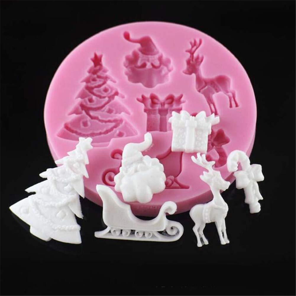 Christmas Tree Bell Crutches Deer Santa Claus Pine Cones Silicone Mold,3D Gift Balloon Fondant Cake Mould,Chocolate Cupcake Candy Baking Mold Tray, DIY Bakeware Pan, Cake Decoration Tool, Clay Mold VALINK