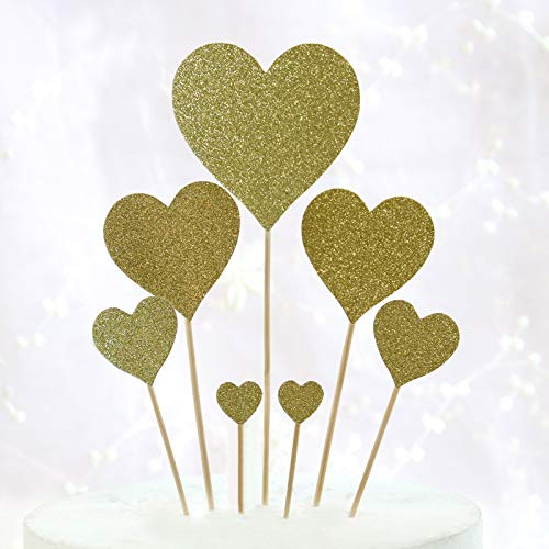 Wedding Anniversary Day 21Pcs Heart Cupcake Toppers Twinkle Gold Snacks Decor DIY Mini Glitter Birthday Mother's Day Cake Decoration Picks Bridal Baby Shower Party -