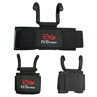 EVO Fitness Haltérophilie Métallique Crochet Gym Courroies Néoprène Support de poignée Bandage sport prises