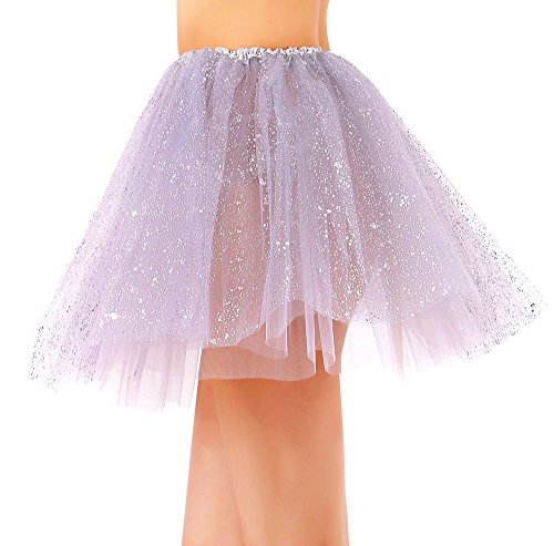 Women's Classic 3 Layered Tulle Sparkling Sequin Tutu Skirt, (Sparkling Silver)