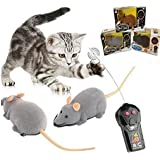 Ialwiyo Remote Controlled Mouse, Mouse Robotic Cat Toy Interactive Two Work Modes Smart Indoor Fun, Remote Control Brown Rat Mouse Toy for Cat Kitten Dog Pet Novelty Gift (1 pc sent by Random Color)