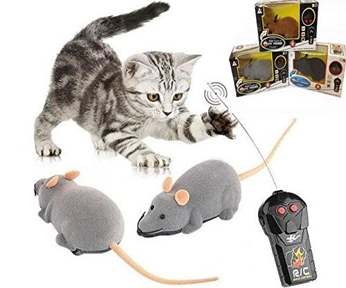 Ialwiyo Remote Controlled Mouse, Mouse Robotic Cat Toy Interactive Two Work Modes Smart Indoor Fun, Remote Control Brown Rat Mouse Toy for Cat Kitten Dog Pet Novelty Gift (1 pc ()