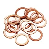HIFROM 20pcs M16 Copper Washers Flat Ring Sump Plug Oil Seal Gasket Sealing Fitting Washers