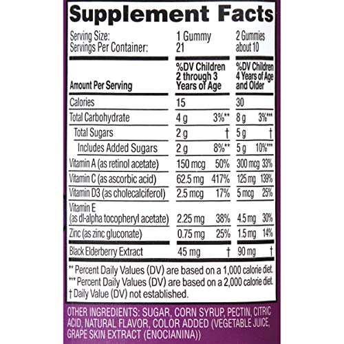 Zarbee's Naturals Children's Elderberry Immune Support* with Vitamin C & Zinc, Natural Berry Flavor, 21 Gummies