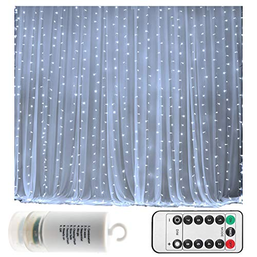 Battery Operated 300 LED Curtain String lights w/ Remote & Timer, Outdoor Curtain Icicle Wall Lights For Wedding Backdrops, Christmas, Holiday, Camping Decoration (9.8×9.8ft, Dimmable, Cool White)]()