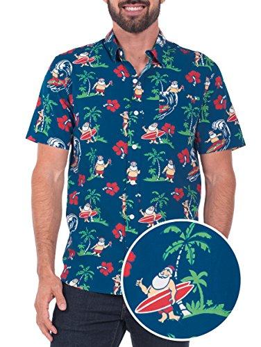 Tipsy Elves Mens Surfs Up Santa Ugly Christmas Hawaiian Button Down Shirt - Hawaiian Christmas Shirt