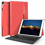 KuGi ipad pro 10.5 keyboard case, Lightweight Stand Portfolio Case with Bluetooth Keyboard cover case + Pencil holder for 10.5 inch New Apple ipad pro 2017 Released ipad. (red)