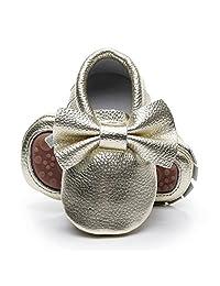 HONGTEYA Leather Baby Moccasins Hard Soled Tassel Crib Toddler Girls Boys Baby Shoes