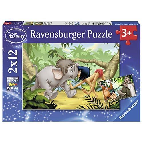 Ravensburger 07587 - Puzzle Amis de Mowgli/Livre de la Jungle - 2 x 12 pièces