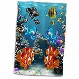 3D Rose Graphic Design of Aquarium Style Hand Towel, 15'' x 22''