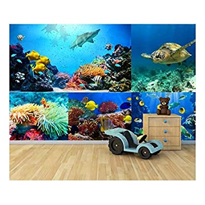 peel and stick wallpapaer under the ocean deep sea aquarium collage removable large wall mural creative wall decal, Created By a Professional Artist, Beautiful Picture