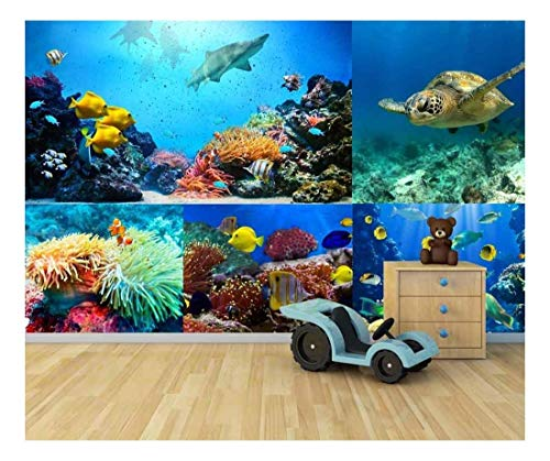 wall26 - peel and stick wallpapaer - under the ocean/deep sea aquarium collage | removable large wall mural creative wall decal 66x96