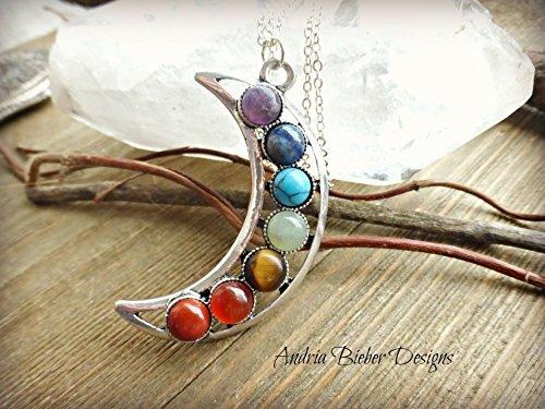 Rainbow Natural Stone : Amazon moon rainbow chakra natural stone pendant and