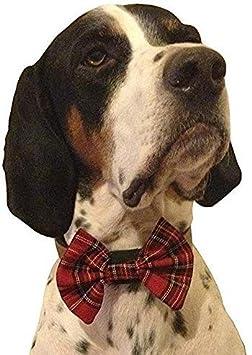 GROTAUS red Tartan Dog Bow tie