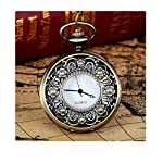 Nadition Vintage Bronze Tone Spider Web Design Chain Pendant Men's Pocket Watch Gift (C)