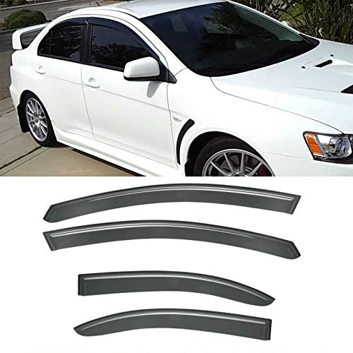 (Gevog 4pcs Side Window Deflectors Original Window Visors for 08-17 Mitsubishi Lancer Sedan Sun/Rain Guard Vent)