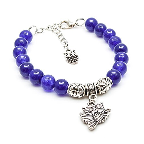 SisFrog Natural Gemstone 8mm Amethyst Beaded Bracelet with Owl Pendant, Owl Bracelet, Gift for Birthday, Mother's Day (Unisex, (Amethyst Beaded Charms)