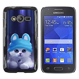 Shell-Star Arte & diseño plástico duro Fundas Cover Cubre Hard Case Cover para Samsung Galaxy Ace4 / Galaxy Ace 4 LTE / SM-G313F ( Cute Ying Yang Cat Kitten )